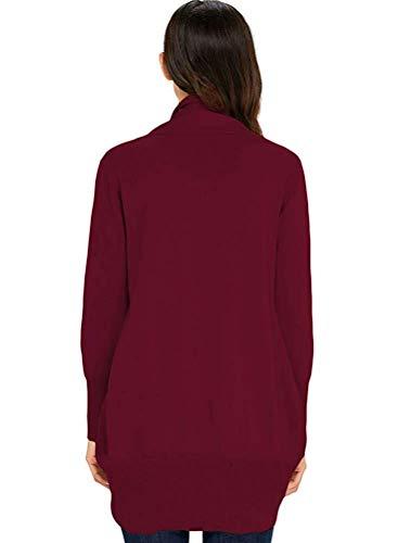Small colore A Cardigan Maniche Lunghe Nero Dimensione Cachi Zhrui Con Donna Da wpfvqIx0n4