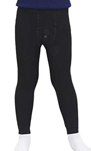 (Swtddy Children Boys Winter Warm Elastic Leggings Stretchy Fleece Tight Pants Thick Velvet Trousers (Tag Size S(for Height 90-110cm), Black) )