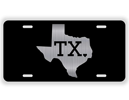 JMM Industries Texas State Love TX ♥ Vanity Novelty License Plate Tag Metal Lone Star State 12-Inches by 6-Inches Etched Aluminum UV Resistant ELP045 ()
