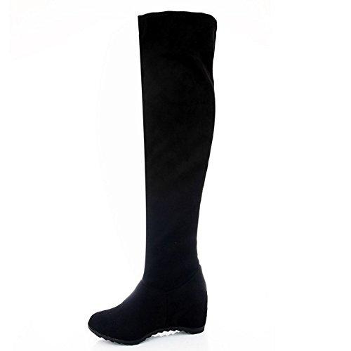 Black TAOFFEN Boots Women's On Pull gwqSRfOq1