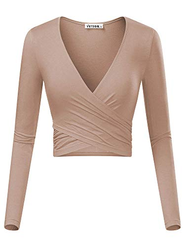 (VETIOR Women's Deep V Neck Long Sleeve Unique Cross Wrap Slim Fit Crop Tops (Large, Camel))