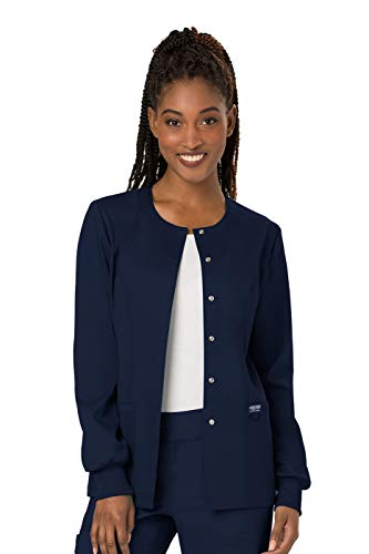 (Cherokee Women's Snap Front Warm-up Jacket, Navy, Large)