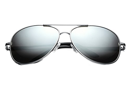 PenSee Mens Fashion Aviator Sunglasses Polarized Mirrored Shades with - Oval For Sunglasses Face Men