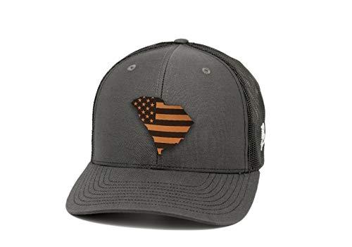 (Branded Bills 'South Carolina Patriot' Leather Patch Hat Curved Trucker -)