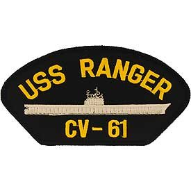 US Navy Military Iron On Patch - Navy Ship - USS Ranger CV-61 Logo