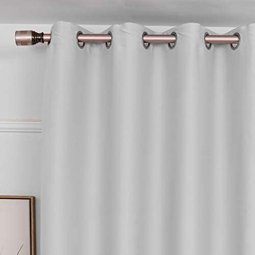 LoyoLady White 100 Blackout Curtains 96 inches Long, Farmhouse Thermal Insulated Curtains for Living Room Decor, Set of 2 Panels 84 W x 96 L Grommet Blackout Lined Curtains for Bedroom
