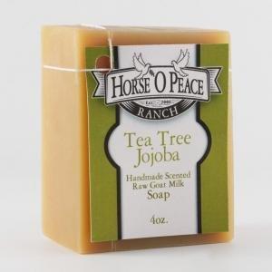 Handmade Herbal 100% Raw Goat Milk Tea Tree Jojoba Soap (4oz./Bar)