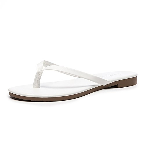 Leather Bke (Womens Slide Sandals Ladies Flats Soft Footbed Holiday Slip On Summer Beach Slippers (White 35/4.5 B(M) US Women))