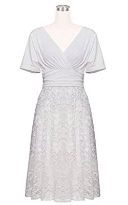 Betty Rose Women's Floral Lace V Neck Vintage Swing Bridesmaid Dress(Size 2-18)