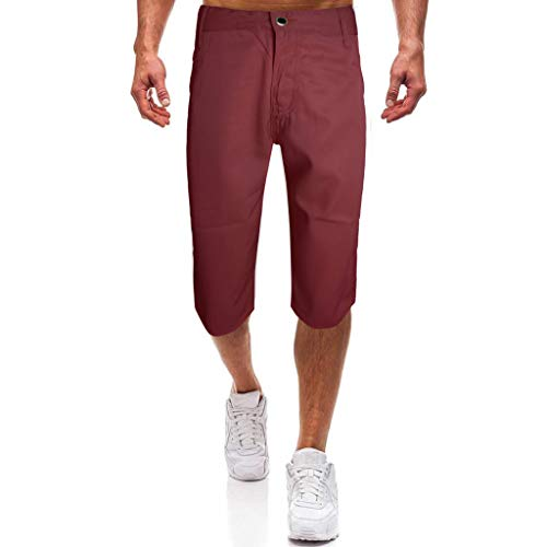 (Bsjmlxg Men's Fashion Loose Casual Pants Running Workout Shorts Outdoor Lightweight Bodybuilding Training Jogging Red)