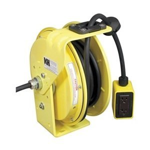 KH Industries RTB Series ReelTuff Industrial Grade Retractable Power Cord Reel with Black Cable, 16/3 SJOW Cable Prewired with Four Receptacle Outlet Box, 10 Amp, 50' Length, Yellow Powder Coat Finish