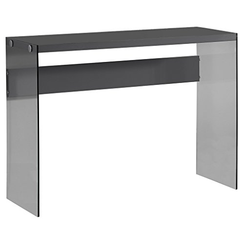 Monarch specialties I 3294, Console Sofa Table, Tempered Glass, Glossy Grey , 44''L by Monarch Specialties