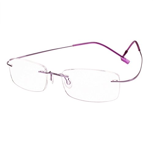 Beison Memory Titanium Stainless Steel Rimless Flexible Reading Glasses (Purple, 2.0)