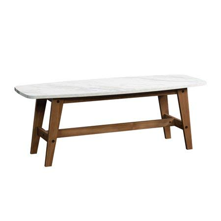 Traditional Rectangle Coffee Table, Durable and Long Lasting Wood Construction Resists Heat, Stains and Scratches, Soft Modern Style, Walnut Finished Legs, White Faux Marble -