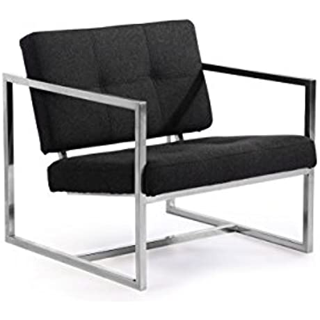 Kardiel Modern 1950 Cube Chair Charcoal Cashmere Wool Stainless Steel