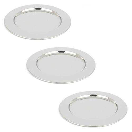 Plate Serving Stainless Steel (Yamde 3 Pcs 8.5 Inch Stainless Steel Round Plate Set for Camping Outdoor,Serving Tray,Dish Plate,Kitchen)