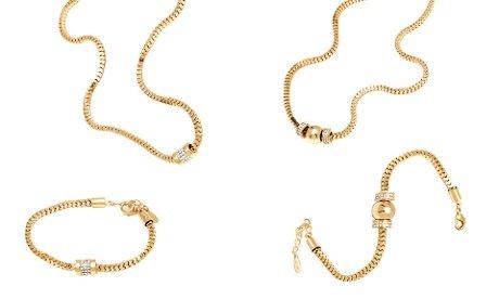 Swarovski 18k Bracelet (18K Gold-Plated Swarovski Elements Round Roll Box Bracelet/Necklace Set)
