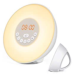 Sunrise Alarm Clock, Digital Clock, Wake Up Light with 6 Nature Sounds, FM Radio and Touch Control (White)