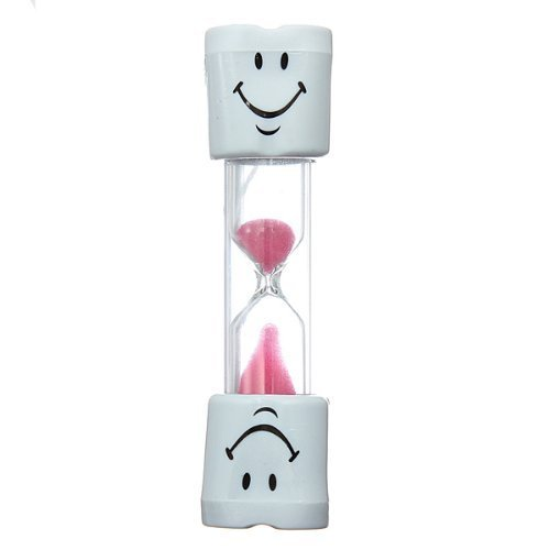 NiceButy Kids Toothbrush Timer ~ 2 Minute Smiley Sand Timer for Brushing Children's Teeth (Pink)