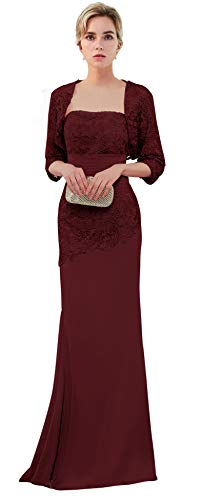 VaniaDress Women Long Mother of The Bride Dress with Jacket Formal Gowns V263LF Dark Burgundy US4 (Mother Of The Bride Couture Evening Gowns)