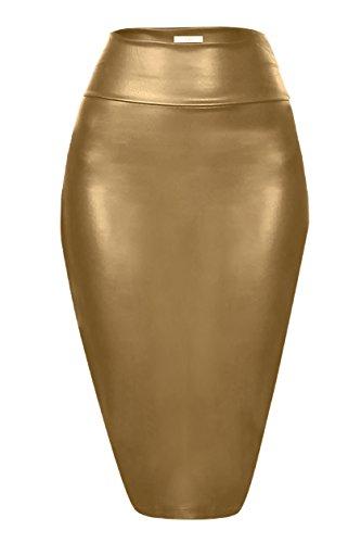 Scuba Pencil Skirt Midi Bodycon Skirt Below Knee Skirt, Office Skirt High Waist Gold Leather XX-Large -