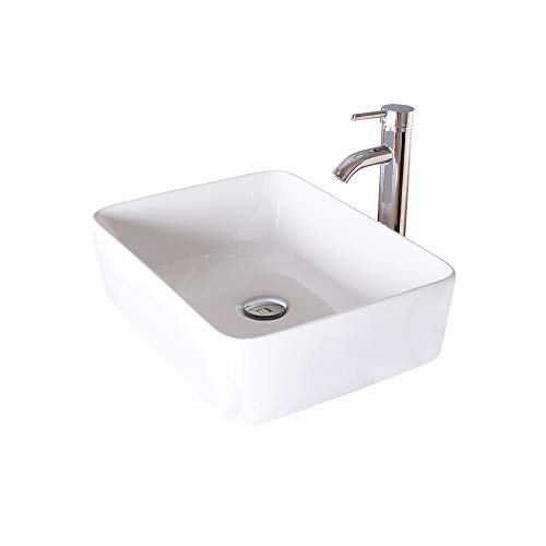 eclife Bathroom Vessel Sink Rectangular Porcelain Above Counter White Ceramic Single Basin Countertop Bowl Sink for Lavatory Vanity Cabinet Sink T03