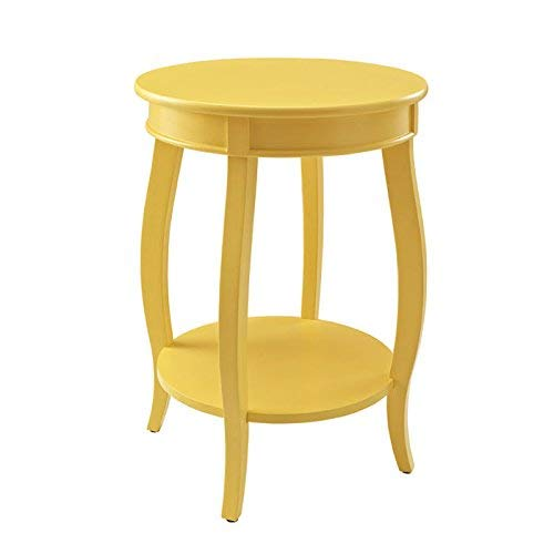 Powell's Furniture 256-350 Powell Round Shelf, Yellow Table, (Accent Table Yellow)