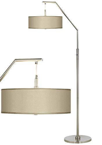 Modern Arc Floor Lamp Brushed Nickel Sesame Beige Faux Silk Drum Shade for Living Room Reading Bedroom - Possini Euro ()