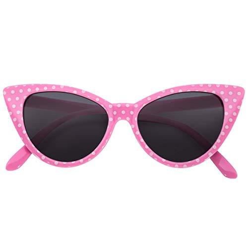 OWL Cateye Sunglasses for Women 1950's UV Pink Frame White Polka Dots Smoke ()