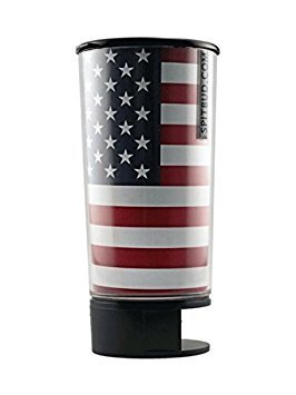 Spit Bud Portable Spittoon Bottle - Cupholder Friendly - Spill Resistant - Built In Can Opener and Holder - USA Flag by The Dipper Brotherhood