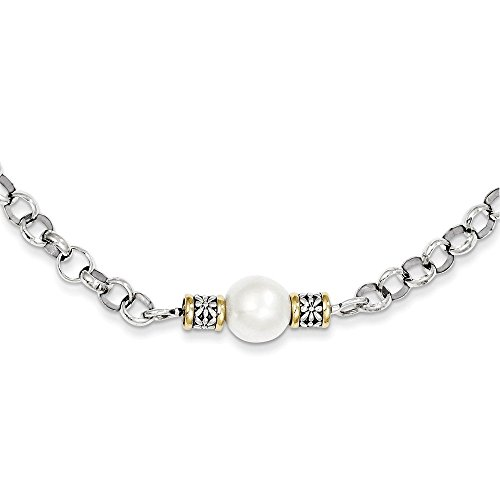 PriceRock Sterling Silver w/14k Gold 9-9.5mm Freshwater Cultured Pearl 32in Necklace 32 Inches Long