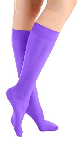 (Purple Microfiber Knee High Skating Socks 2-Pair, One Size)