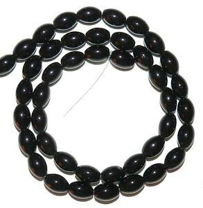 (Steven_store G1628 Black Opaque Glossy 9mm Tapered Oval Barrel Glass Beads 15