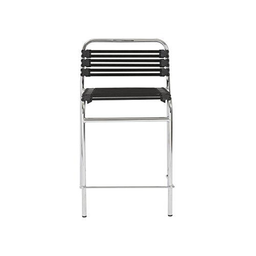 (Euro Style Flat Bungie Counter Height Stackable Chair, Black Bungies with Chrome Frame, Set of)