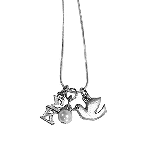 Sigma Kappa Sorority Triple Charm Set Lavalier 18 Inch with Simulated Pearl and Mascot Charm (Chief Keef Pendant)