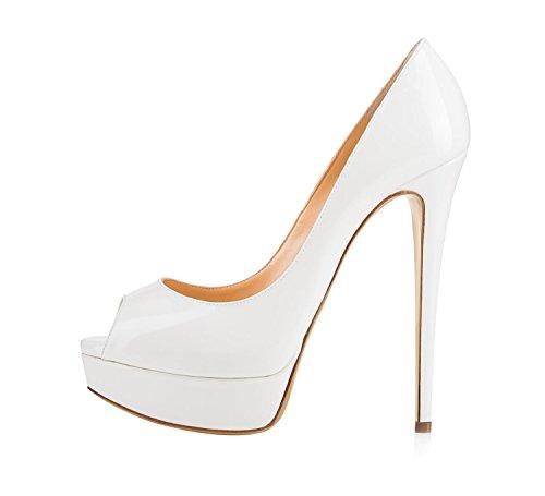 Guoar Womens Multicolor Stiletto Big Size Tacchi Alti Peep Toe Piattaforma Pompe Di Brevetto Per Abito Da Sposa Bianco
