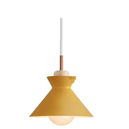 - Leihongthebox pendant Light Black Retro metal Oil Rubbed Bronze with Gold Interior ,Edison Light Bulb Industrial Black Shade The head of the bed iron chandeliers ,2526CM(E261),YELLOW rice