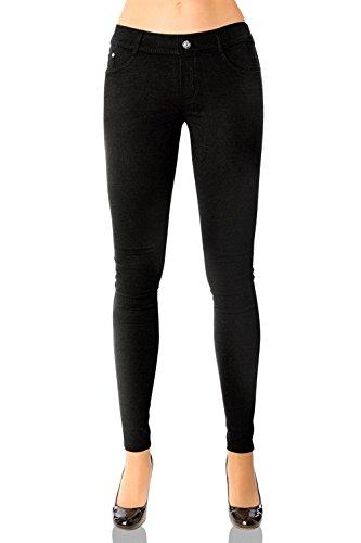Damen Hose Treggings Skinny (Röhre weitere Farben) Nr.359, Grösse:44 XXL, Farbe:Schwarz