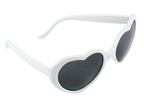 Coco&de Lolita Metal Heart Shaped Frame Cupid Sunglasses (White, 58) (Sunglasses Heart White Shaped)