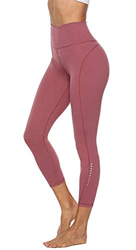 Edeey Women High Waist Yoga Leggings 2 Pockets Workout Pants with Safe Tummy Control ... (Misty Merlot, M)