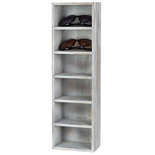 MyGift 6-Slot Rustic Whitewashed Wood Wall-Mounted Vertical Sunglasses Display Case