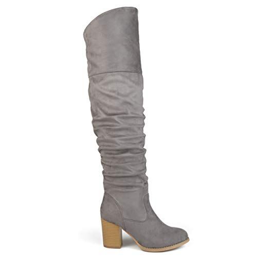 Brinley Co. Womens Regular Wide Calf and Extra Wide Calf Ruched Stacked Heel Faux Suede Over-The-Knee Boots Grey, 9.5 Wide Calf US