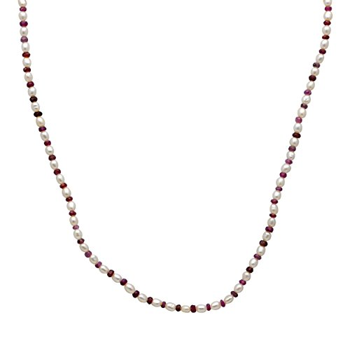 Orchid Jewelry 41.75 Ct Red Beads Ruby and Pearl 14K Gold Necklace for Women: Nickel Free Beautiful and Stylish Birthday Gift for Mother and Wife
