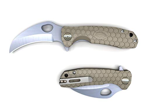 Western Active Honey Badger Flipper Knife Claw and Hook Model Serrated or Smooth Blade (Claw Smooth Medium Tan)
