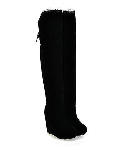 XZZ  Damenschuhe - Stiefel - - - Kleid   Lässig - Vlies - Keilabsatz - Wedges   Plateau   Rundeschuh   Modische Stiefel - Schwarz   Rot B01L1GRO3W Sport- & Outdoorschuhe Neuer Stil 836250