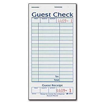 Adams 1-Part Guest Check with Stub - 50 Checks/book - 20 pk.