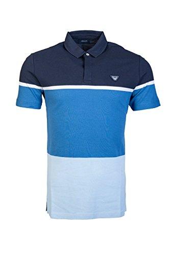 ARMANI JEANS Men's Short Sleeve Mesh Pique Polo Shirt (Blue, Medium)