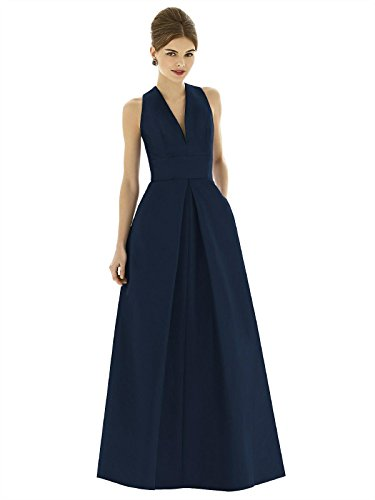 Forever Alfred Sung Style D611 Floor Length dupioni Pleated Skirt Formal Dress - Sleeveless V-Neck - Midnight - 18
