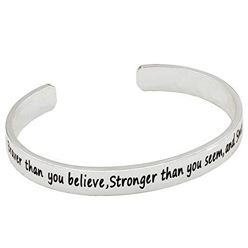 Bracelets, Sterling Silver Tones Inspirational Bracelets, Birthday Gifts for Teen Girls, (You are Braver Than You Believe Stronger Than You Seem and Smarter Than You Think)