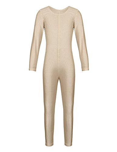 Dancewear Unitard (iEFiEL Girls Long Sleeve Ballet Dance Gymnastics Kids Catsuit Bodysuits Unitard Dancewear Costume Nude Crew Neck 8-10)